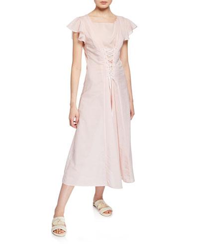 Shelter Lace-Up Cotton Coverup Dress