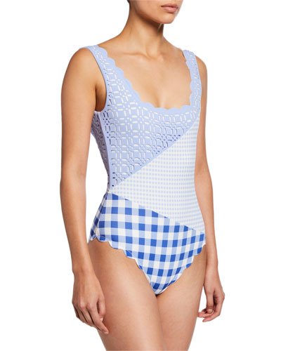 fbcc377989 Wainscott Scalloped Check One-Piece Swimsuit Quick Look. Marysia