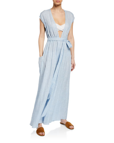 Whitney Woven Deep V Coverup Jumpsuit