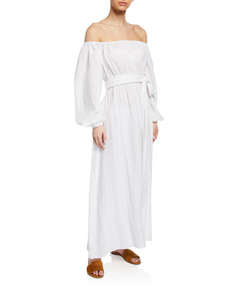 Mara Hoffman Dresses PLUS SIZE MALIKA OFF-THE-SHOULDER BLOUSON-SLEEVE ORGANIC COTTON MAXI DRESS