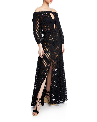 Jenny Mesh Off-Shoulder Coverup Dress