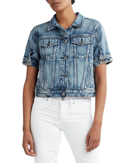 Hudson Ruby Contour Cropped Denim Trucker Jacket