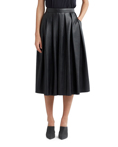 Pleated Faux-Leather Midi Skirt