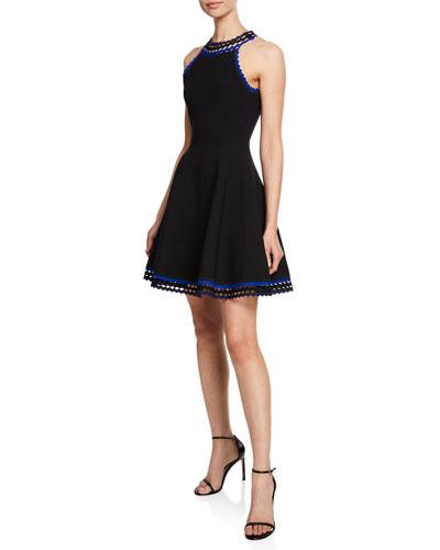 Diamond-Cut Halter-Neck Fit-and-Flare Mini Dress