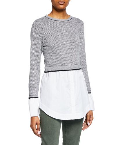 Berdine Layered Cashmere Crewneck Sweater