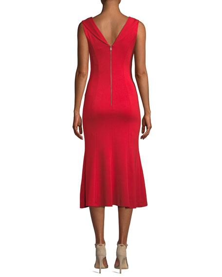 Cecilia Draped-Shoulder Sleeveless Cocktail Dress