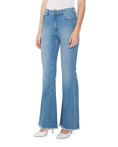 Bombshell Mid-Rise Flare Jeans w/ Frayed Hem