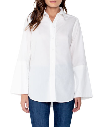 Button-Front Split-Sleeve Blouse with Shirttail Hem