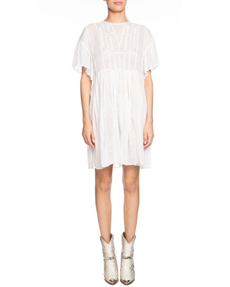 Etoile Isabel Marant Annaelle Embroidered Flared Short-Sleeve