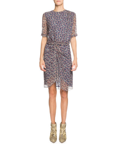 Barden Printed Short-Sleeve Silk Ruched Dress
