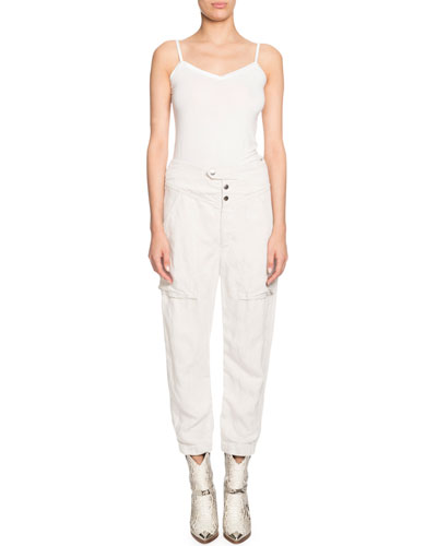 Lago Plain Weave High-Waist Linen-Blend Pants