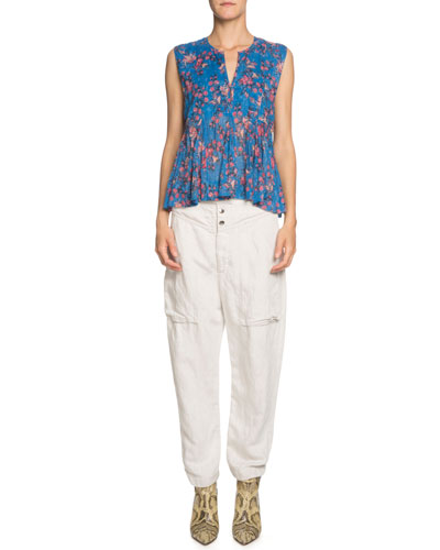 Erney Floral-Print Sleeveless Pleated Top