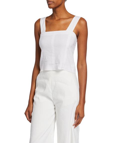 Wide-Strap Cropped Shell, White