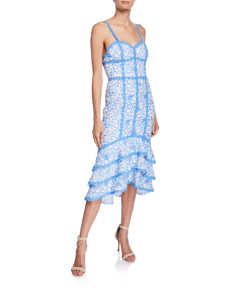 Alice + Olivia Diane Floral Lace Sweetheart Sleeveless