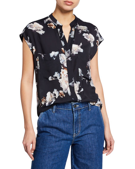 Vince Peony-Print Short-Sleeve Shell Top