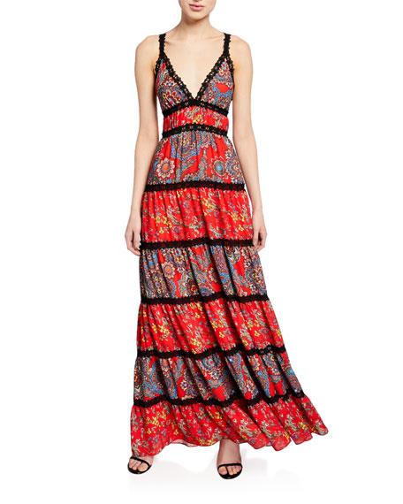 Alice + Olivia Karolina Paneled Maxi Dress