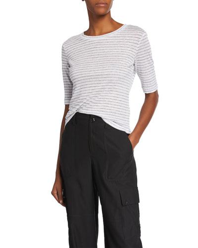 638aefa0ecd04 Promotion Micro-Stripe Elbow-Sleeve Crewneck T-Shirt