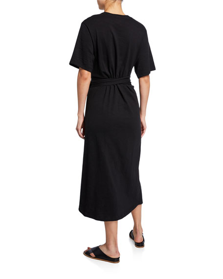 Cotton Tie-Waist Midi Wrap Dress