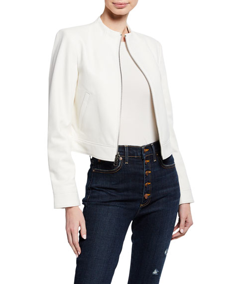 Alice + Olivia Yardley Mock-Neck Zip-Front Lambskin Leather