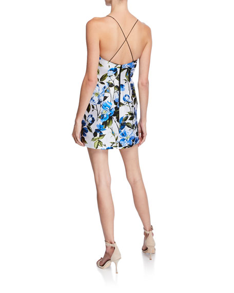 5b1e4aca29ef Alice + Olivia Tayla Structured Floral-Print Lantern Mini Dress