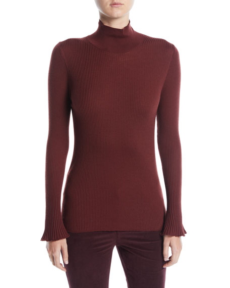 Lafayette 148 Sweaters Fine-Gauge Wool Turtleneck Sweater, VINO