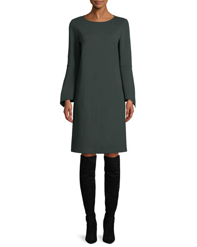 Paloma Punto Milano Dress w/ Trumpet Sleeves