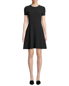 Crewneck Short Sleeve Modern Seamed Shift W. Admiral Crepe Dress by Theory
