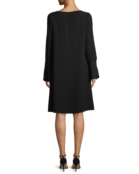 Jorie Long-Sleeve Crepe Shift Dress