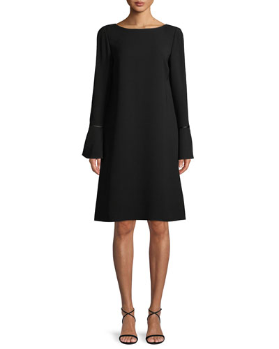 Jorie Long-Sleeve Crepe Shift Dress