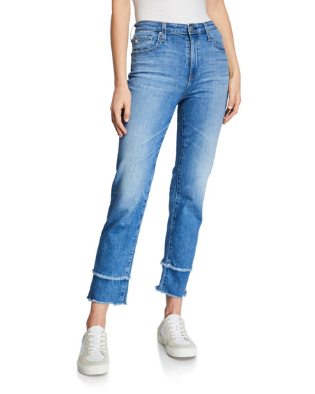 AG The Isabelle High-Rise Straight Crop Jeans with