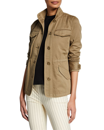 Daniella Washed Button-Front Utility Jacket