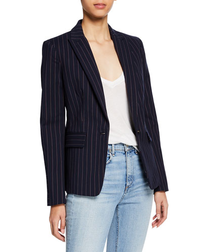 Lexington Striped One-Button Blazer