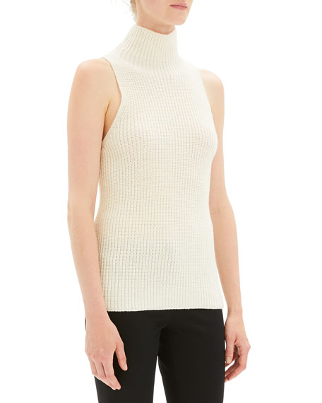 Plaited Sleeveless Knit Turtleneck Sweater