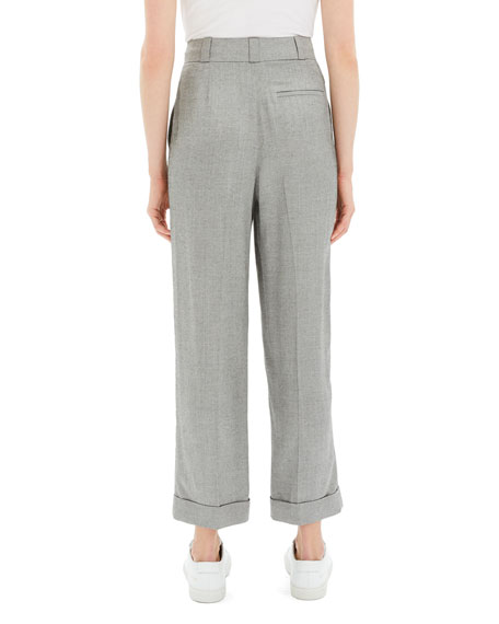 Fluid Melange Straight Cuffed Pants