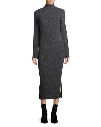Cashmere Tweed Turtleneck Sweaterdress
