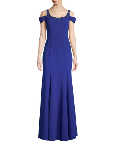Stretch Crepe Cold-Shoulder Embellished Gown