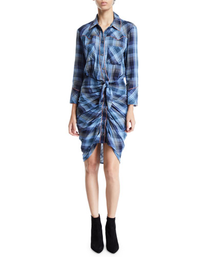 Sierra Gathered Plaid Button-Front Shirtdress