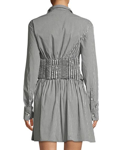 Ruffled Long-Sleeve Gingham Shirtdress