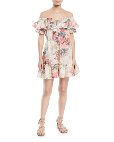 Laelia Off-the-Shoulder Floral-Print Frill Tier Mini Dress