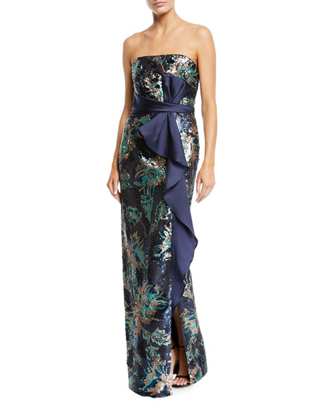 Strapless Sequin Peony Column Gown