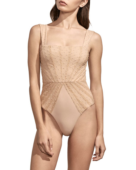 AMAIO SWIM Avril Pleated-Mesh Maillot, Ivory in Nude