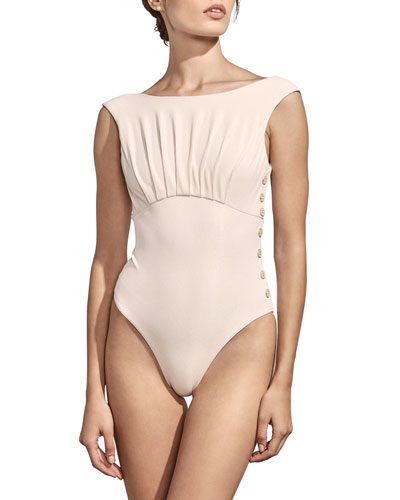 Ophelia High-Cut Button Maillot One-Piece Swimsuit