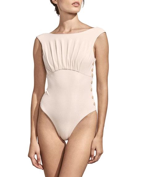 81183b826ae0e Amaio Swim Ophelia High-Cut Button Maillot One-Piece Swimsuit