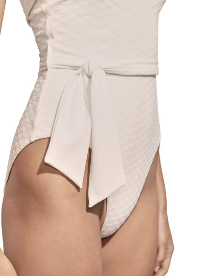 Solene Belted Jacquard One-Piece Swimsuit