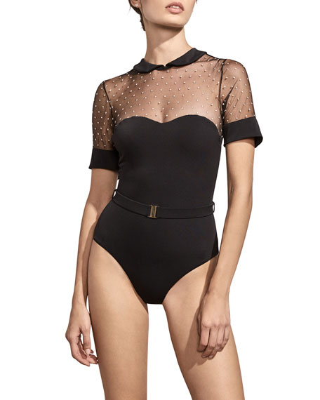 amaio swim penelope embroidered mesh maillot swimsuit