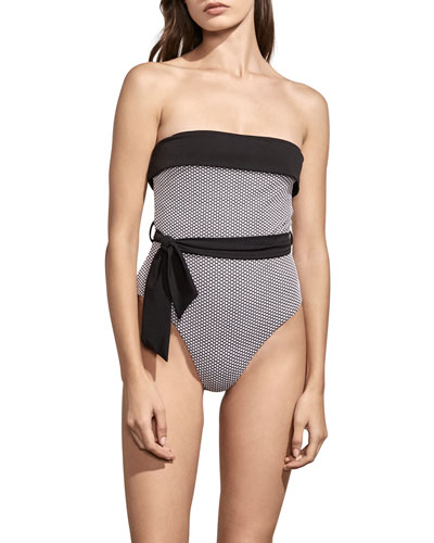 Solene Detachable-Strap Maillot with Sash