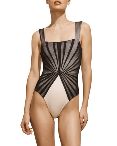 Avril Pleated-Mesh Maillot  Black and Ivory