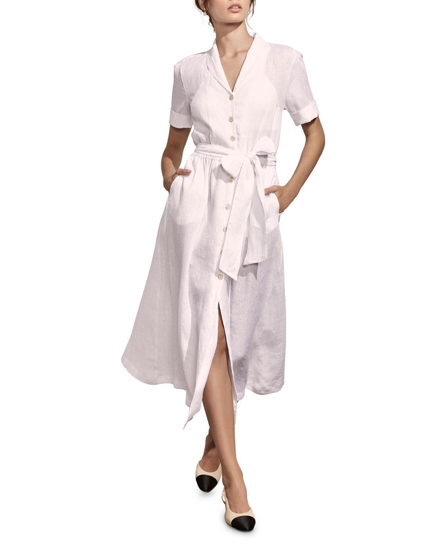 Amaio Swim Kamille Button-Down Short-Sleeve Linen Shirtdress In Marine
