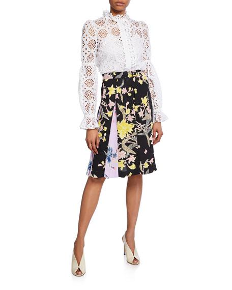 9eca65fc7e29f Diane von Furstenberg Opal Pleated Floral-Print Skirt