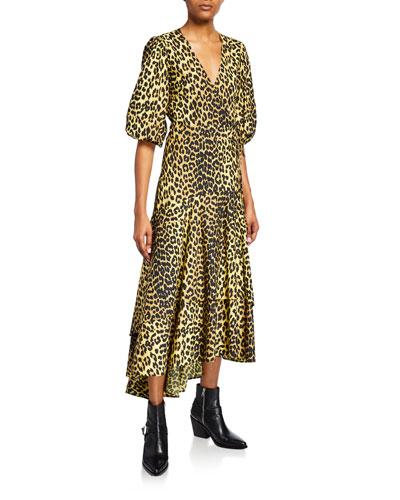 Leopard-Print Puff-Sleeve Wrap Dress